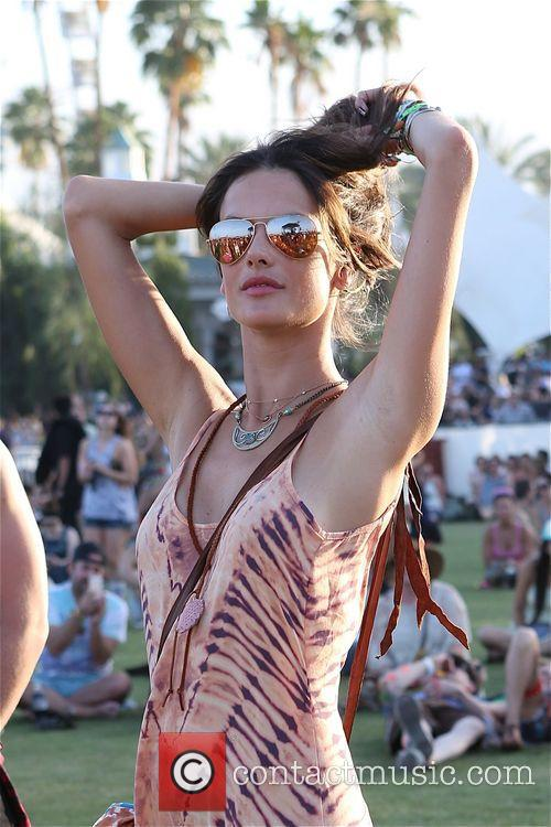 Alessandra Ambrosio poses like a model at Coachella