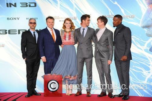 Matt Tolmach, Marc Webb, Emma Stone, Andrew Garfield, Dane Dehaan and Jamie Foxx 1