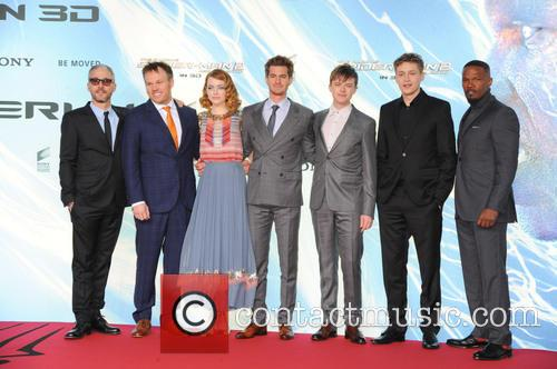 Matt Tolmach, Marc Webb, Emma Stone, Andrew Garfield, Dane Dehaan, Tim Bendzko and Jamie Foxx 2