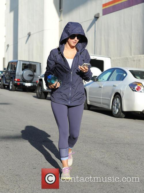 Julianne Hough wears a hoodie