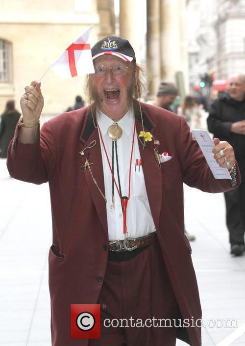 John McCririck celebrates St George's Day