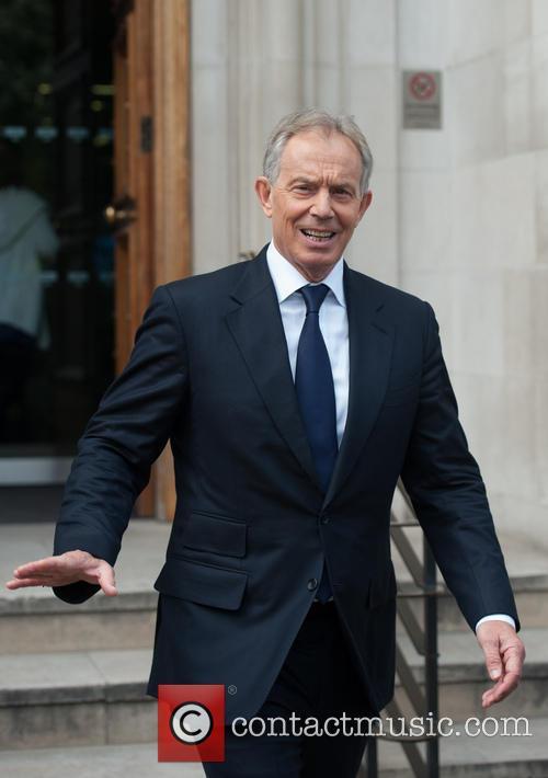 Tony Blair leaving Bloomberg HQ