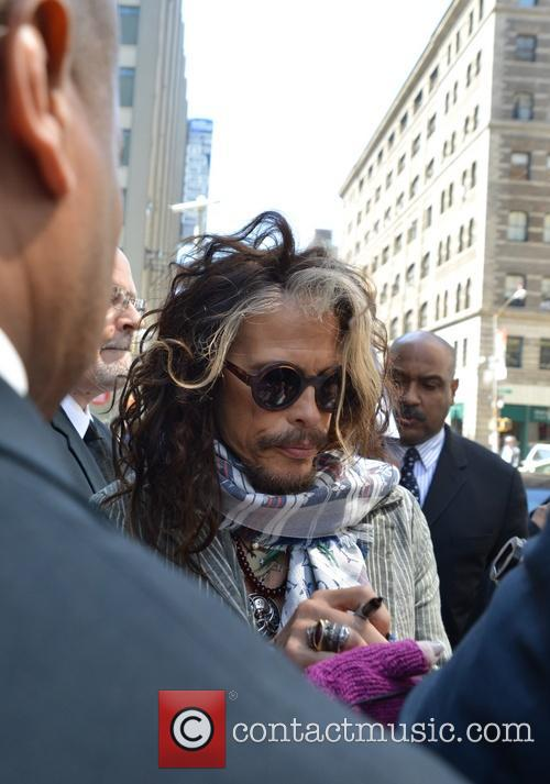Steven Tyler leaving his hotel