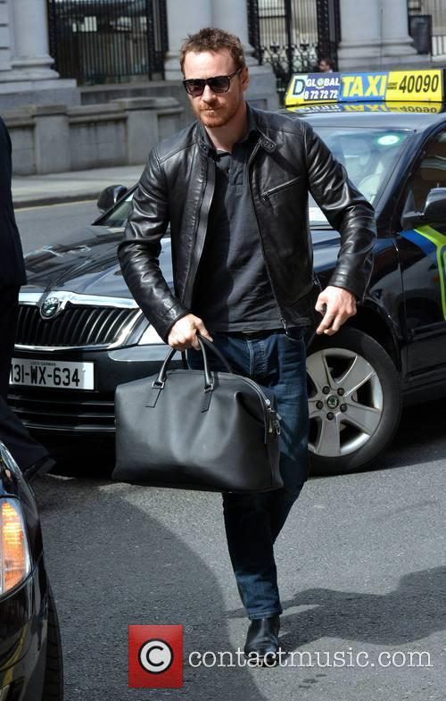 Michael Fassbender arrives at his hotel