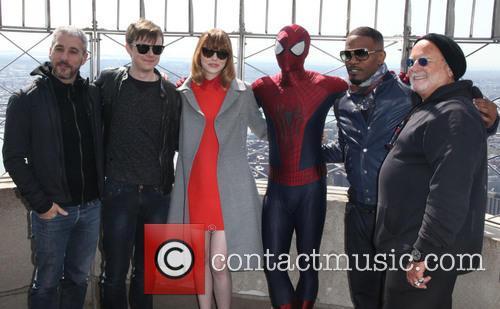 The Casts, Matthew Tolmach, Dane Dehaan, Emma Stone, Spider Man, Jamie Foxx and Avi Arad 2