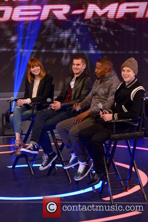 Emma Stone, Andrew Garfield, Jamie Foxx and Dane Dehaan 1