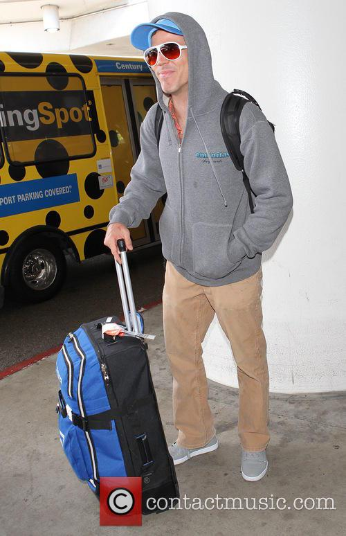 Steve-O arrives at Los Angeles International (LAX) airport