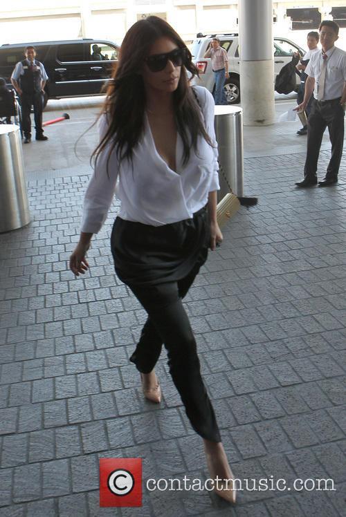 Kim Kardashian arriving at LAX