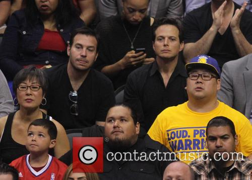 Celebrities at the NBA playoff basketball game between...