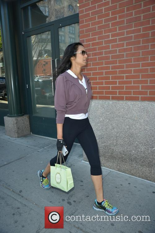 Padma Lakshmi returning from the gym