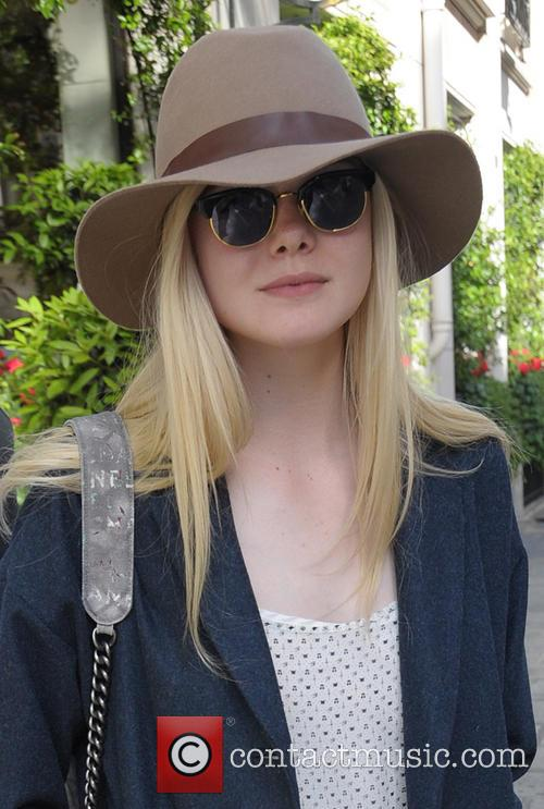 Elle Fanning outside her hotel