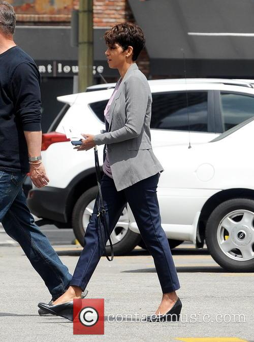 Halle Berry arriving on the set of her...