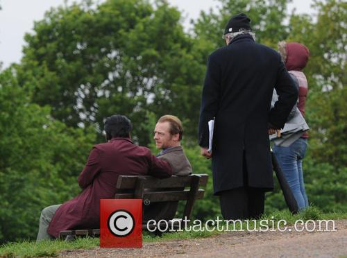 Simon Pegg filming Absolutely Anything