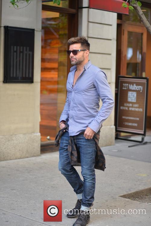 Ricky Martin walking in Soho