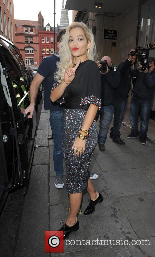 Rita Ora leaving the KIss FM studios and heading to a meeting