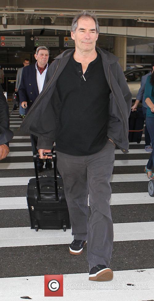 Timothy Dalton at Los Angeles International Airport