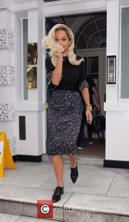 Rita Ora leaves the Sony Music offices after...