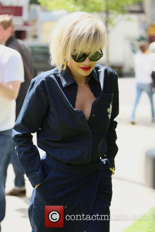 Rita Ora arrives at Bodos Schloss Knightsbridge