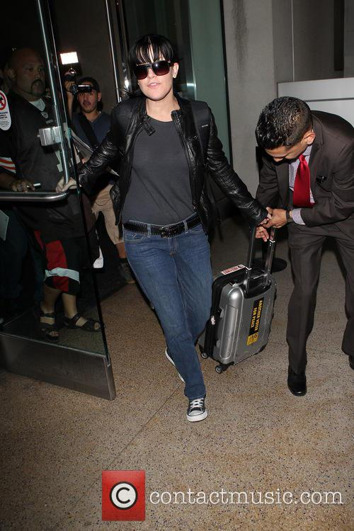 Pauley Perrette arriving at Los Angeles International (LAX)...