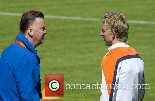 Coach Louis van Gaal attends a training session...