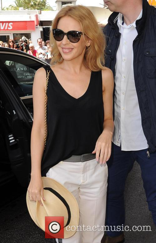 Kylie Minogue arriving in Cannes