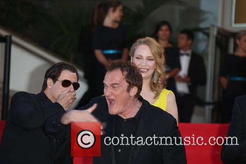 John Travolta (l-r), Uma Thurman and Director Quentin Tarantino 1