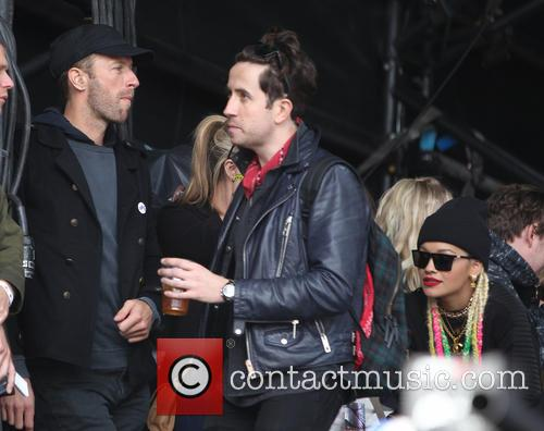 Chris Martin, Nick Grimshaw and Rita Ora