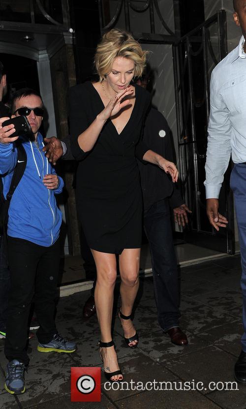 Charlize Theron and Sean Penn leaving Claridge's hotel