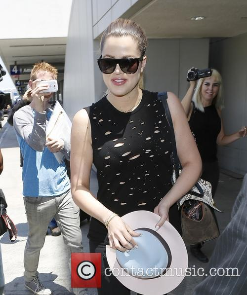 Khloe Kardashian arriving at Los Angeles International Airport