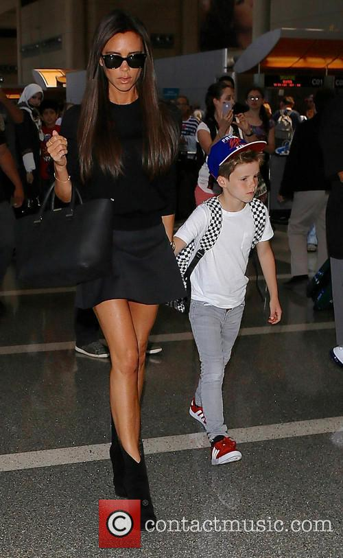 The Beckham family at Los Angeles International (LAX)...
