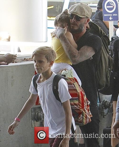 Harper Beckham, David Beckham and Romeo Beckham 9
