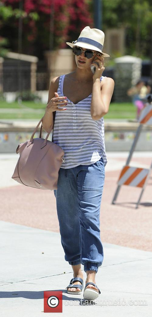Jessica Alba enjoys a day at the park with her mother and daughter