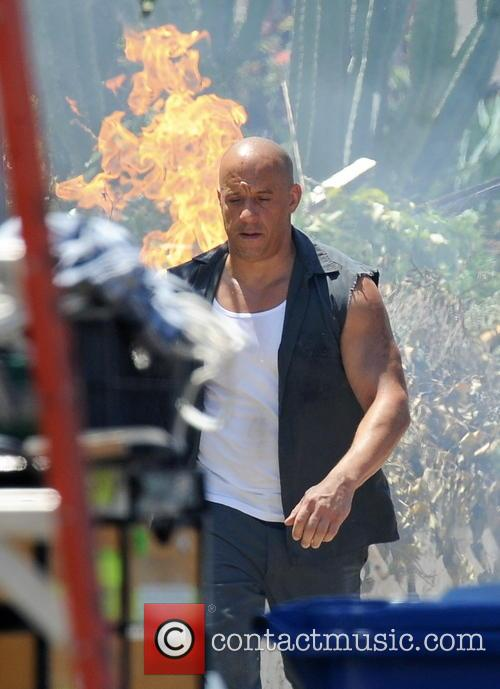 Celebrities filming on the set of 'Fast & Furious 7'