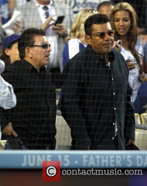 Celebrities attend the Los Angeles Dodgers v Chicago...