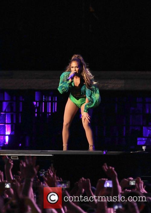 Jennifer Lopez performing at the State Farm Neighborhood...