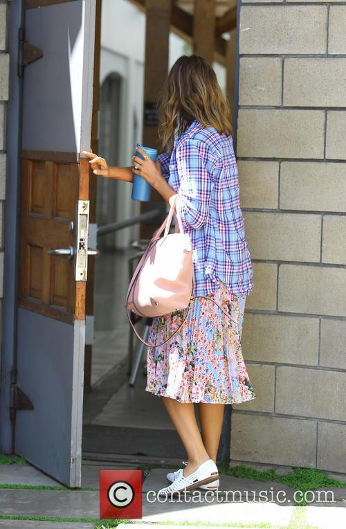 Jessica Alba heading to a meeting