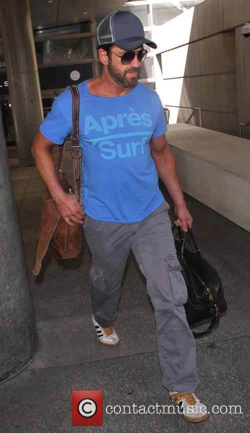 Gerard Butler arrives at Los Angeles International (LAX) airport