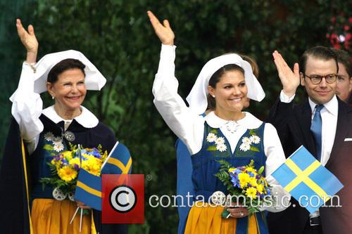 Queen Silvia Of Sweden, Crown Princess Victoria Of Sweden and Prince Daniel Of Sweden