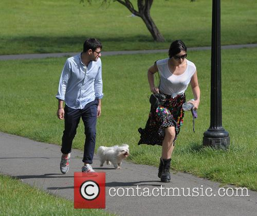 Daisy Lowe walking her dog Monty in Primrose...