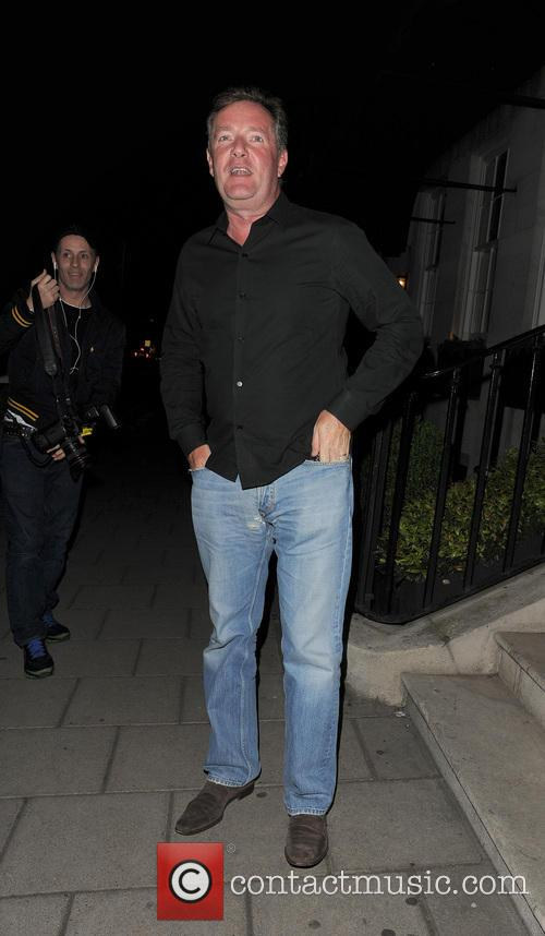 Simon Cowell and Lauren Silverman leaving 34 restaurant, having dined with Piers Morgan