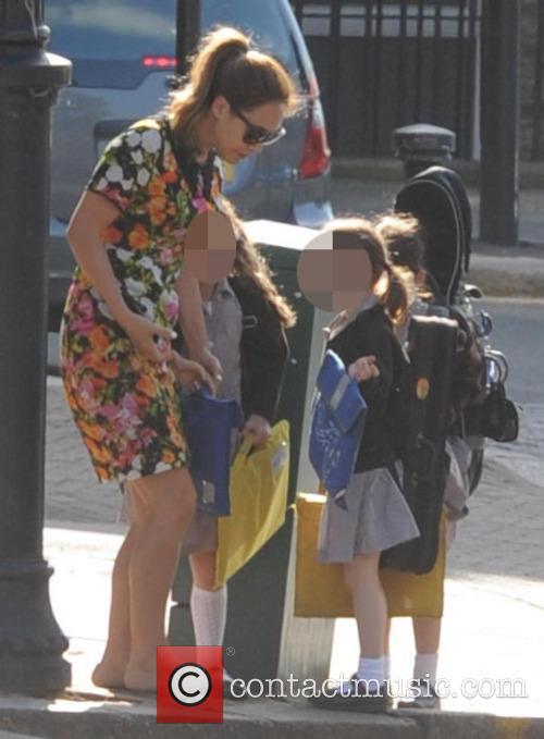 Myleene Klass takes her daughter to school
