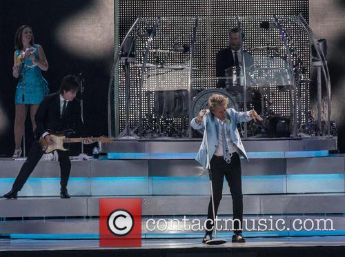 Rod Stewart performs live at Falmer Stadium