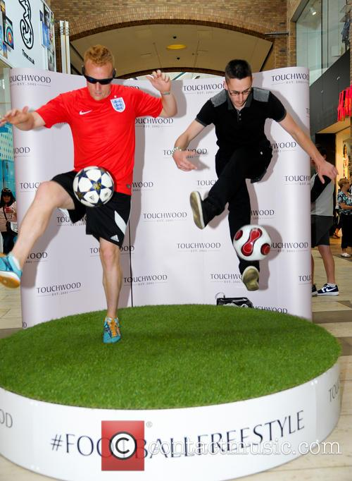 Football freestyler Dan Magness performs at Touchwood Centre
