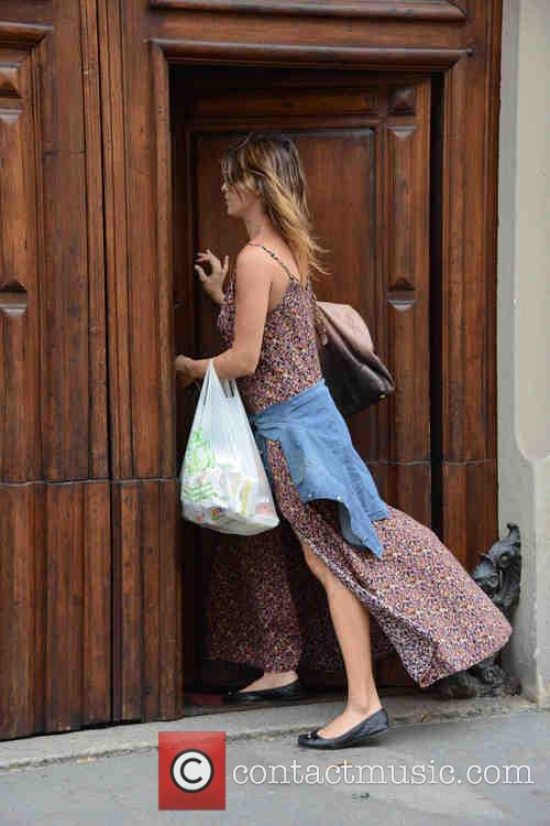 Elisabetta Canalis arrives back at a private address...