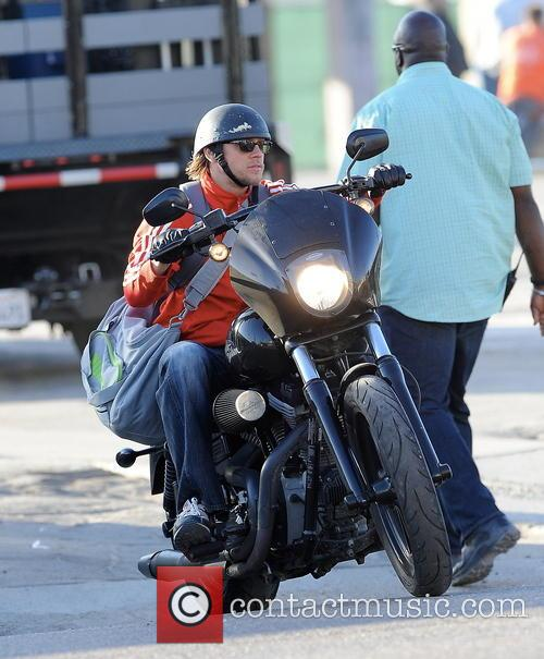 Charlie Hunnam On His Harley Davidson Motorcycle