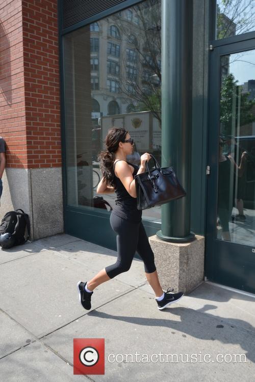 Kim Kardashian returning from the gym