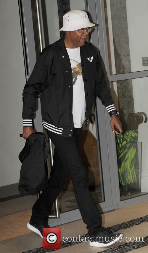 Samuel L Jackson Leaving the Soho Hotel