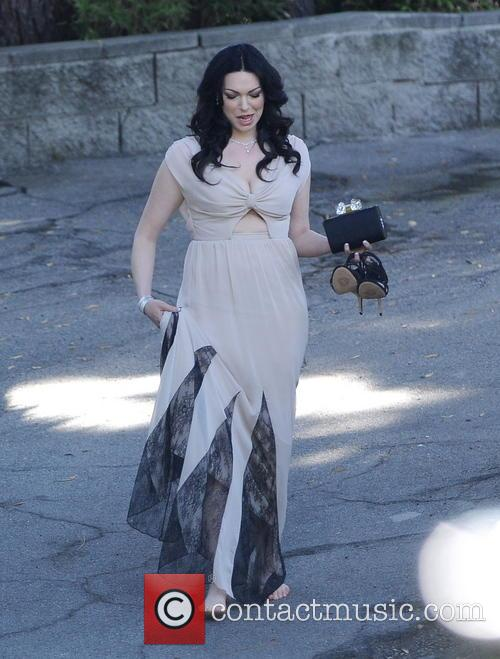 Laura Prepon Walks Barefooted In A Dress
