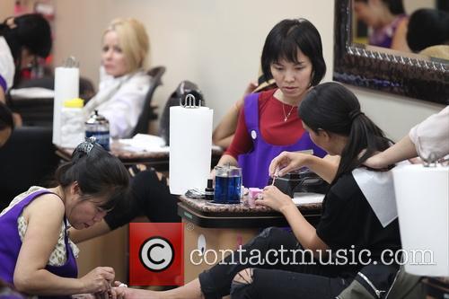 Kim Kardashian at a nail salon on Bedford...