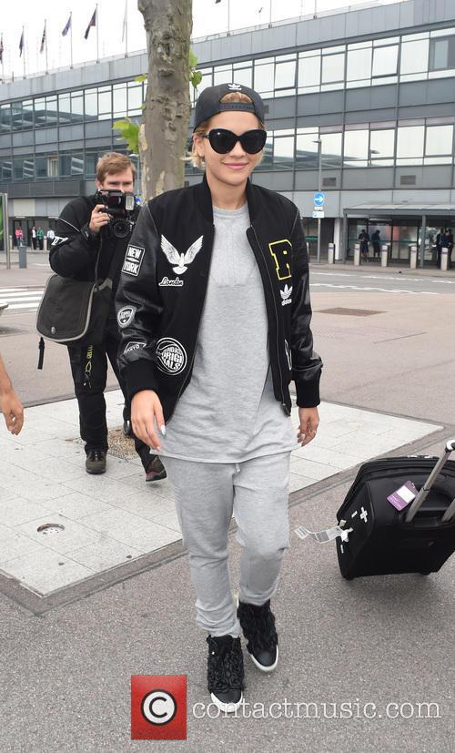 Rita Ora seen arriving at Heathrow airport on...
